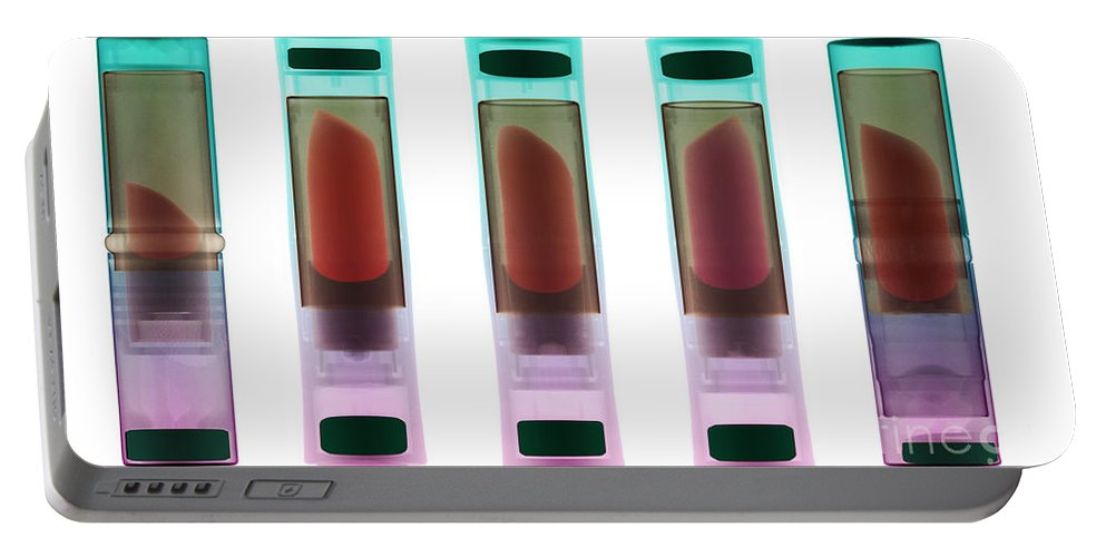 Lipstick Portable Battery Charger featuring the photograph X-ray Of Lipsticks by Ted Kinsman