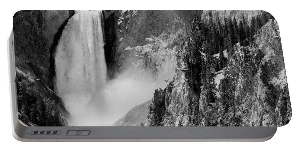 Yellowstone Portable Battery Charger featuring the photograph Yellowstone Waterfalls In Black And White by Sebastian Musial