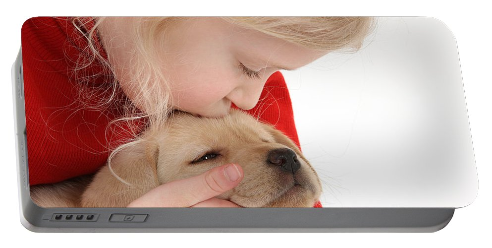 Nature Portable Battery Charger featuring the photograph Young Girl With Yellow Labrador by Mark Taylor