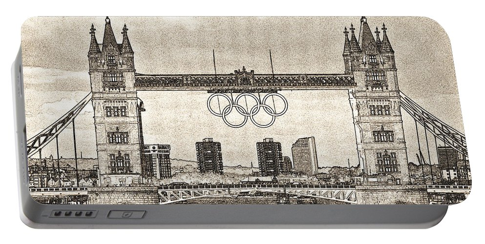 Olympics Portable Battery Charger featuring the digital art Tower Bridge Art by David Pyatt