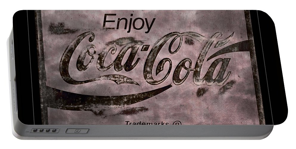 Coca Cola Portable Battery Charger featuring the photograph Coca Cola Sign Grungy Retro Style by John Stephens
