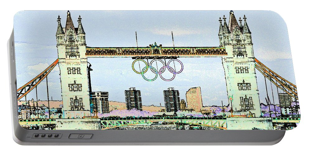 Olympics Portable Battery Charger featuring the digital art Tower Bridge Art by David Pyatt