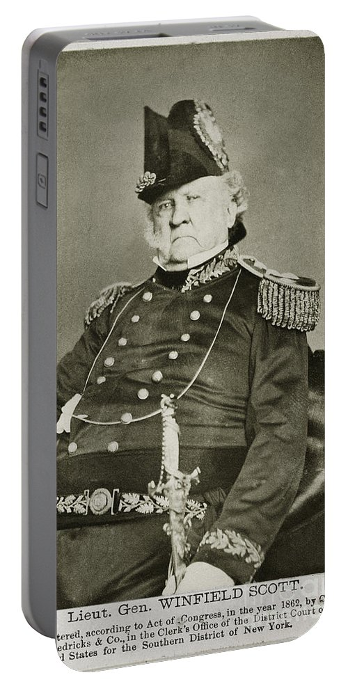 1862 Portable Battery Charger featuring the photograph Winfield Scott (1786-1866) by Granger