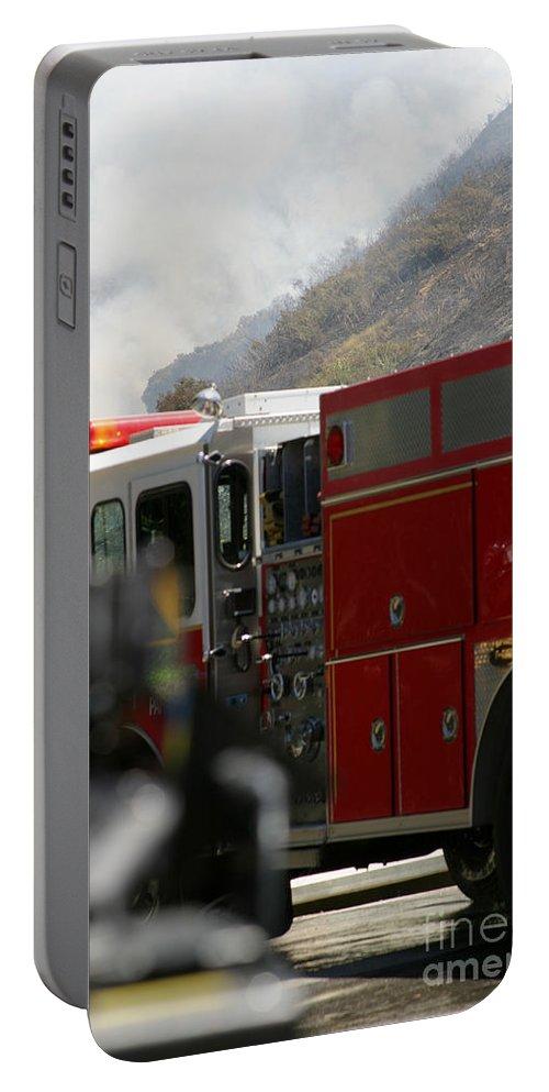 Ash Portable Battery Charger featuring the photograph Barnett Fire by Henrik Lehnerer