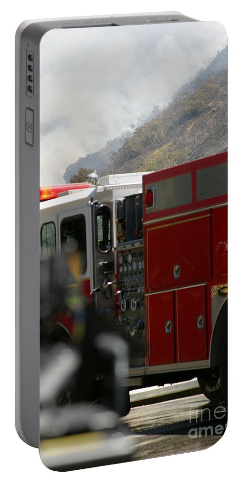 Ash Portable Battery Charger featuring the photograph Barnett Fire by Henrik Lehnerer