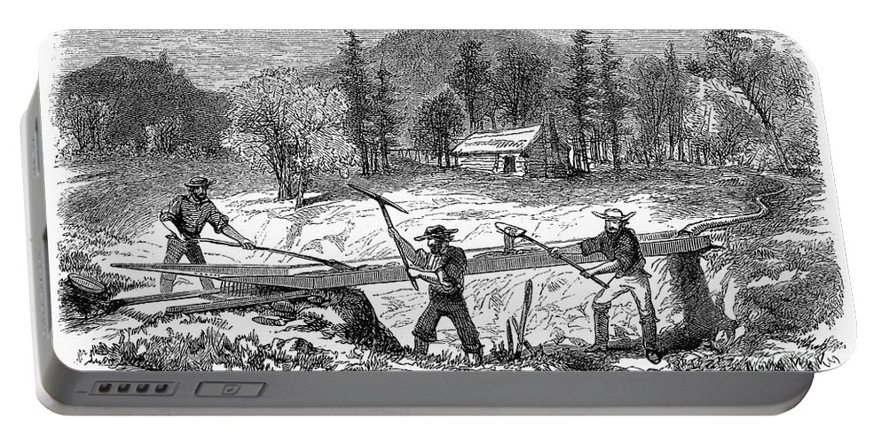 1850s Portable Battery Charger featuring the photograph California Gold Rush by Granger