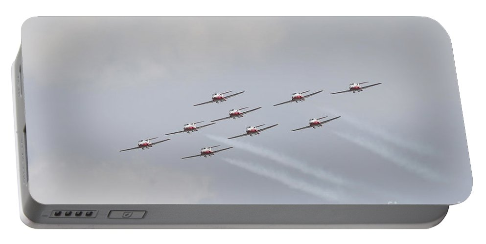 Snowbirds Portable Battery Charger featuring the photograph The Snowbirds 431 Air Demonstration by Terry Moore