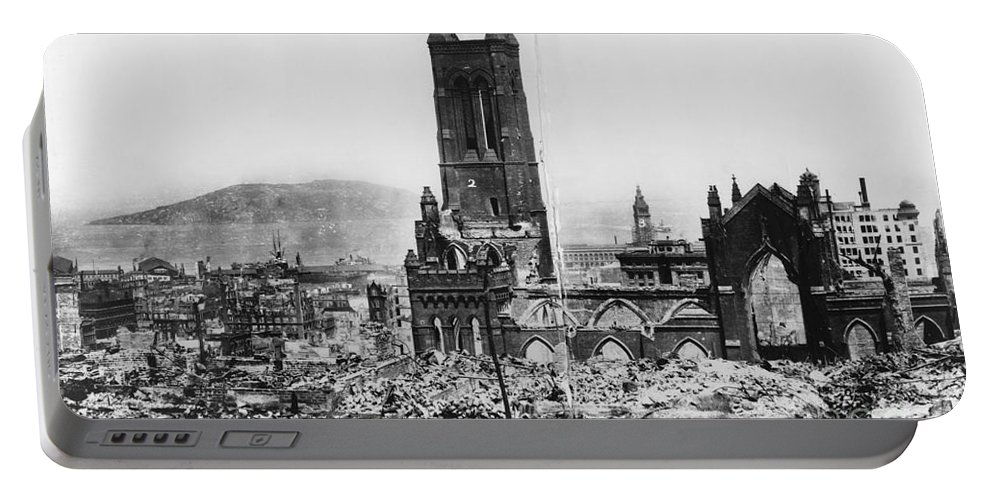 100th Anniversary 1906-2006 Portable Battery Charger featuring the photograph 1906 San Francisco Earthquake by Library of Congress