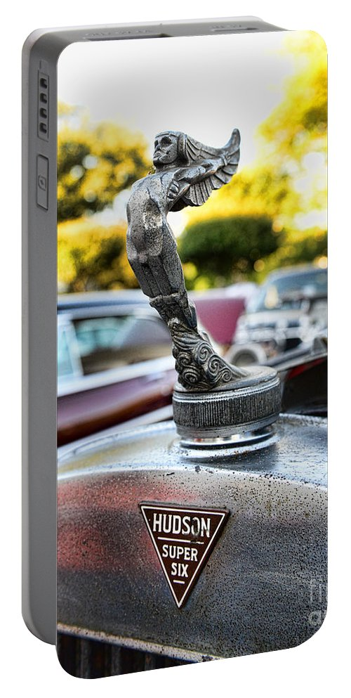 1928 Hudson Super Six Roadster Hood Ornament Portable Battery Charger featuring the photograph 1928 Hudson Super Six Roadster Hood Ornament by Paul Ward