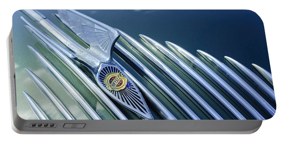 1934 Chrysler Airflow Portable Battery Charger featuring the photograph 1934 Chrysler Airflow Hood Ornament by Jill Reger