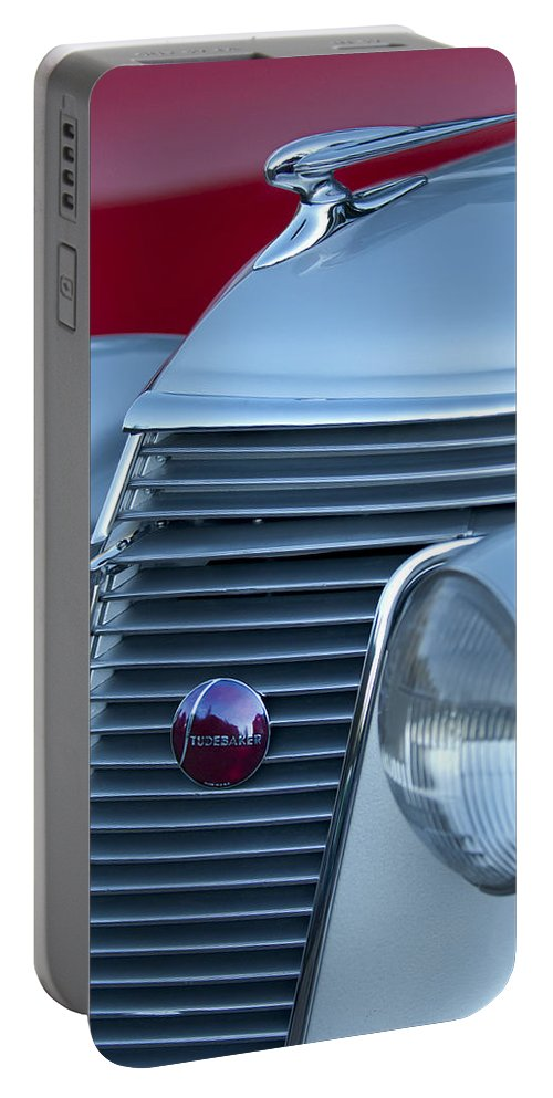 1937 Studebaker Portable Battery Charger featuring the photograph 1937 Studebaker Grille by Jill Reger