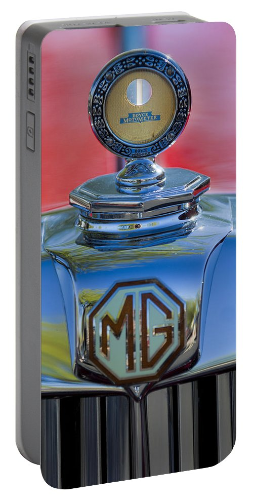 1938 Mg Ta Portable Battery Charger featuring the photograph 1938 Mg Ta Hood Ornament 2 by Jill Reger