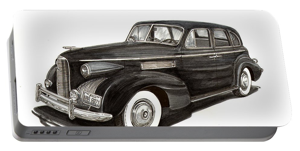 1939 Lasalle Portable Battery Charger featuring the painting 1939 Lasalle Sedan Classic by Jack Pumphrey