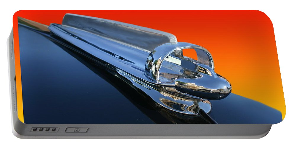 1947 Chevrolet Photographs. Images Of 1947 Chevrolet Hood Ornaments. Hood Ornaments Photographs Portable Battery Charger featuring the photograph 1947 Chevrolert Hood Ornament by Jack Pumphrey