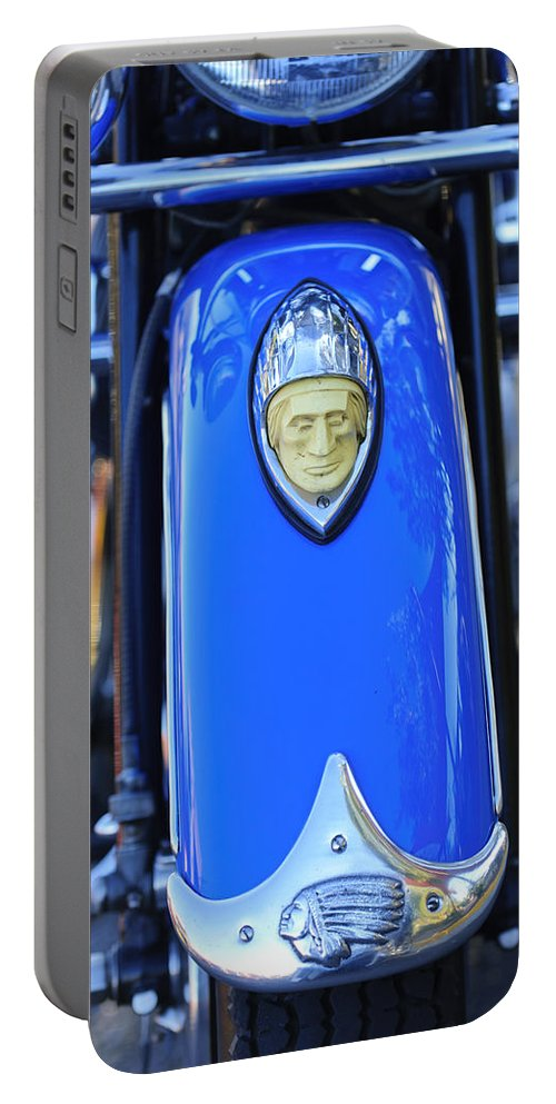 1948 Indian Chief Motorcycle Portable Battery Charger featuring the photograph 1948 Indian Chief Motorcycle Fender by Jill Reger