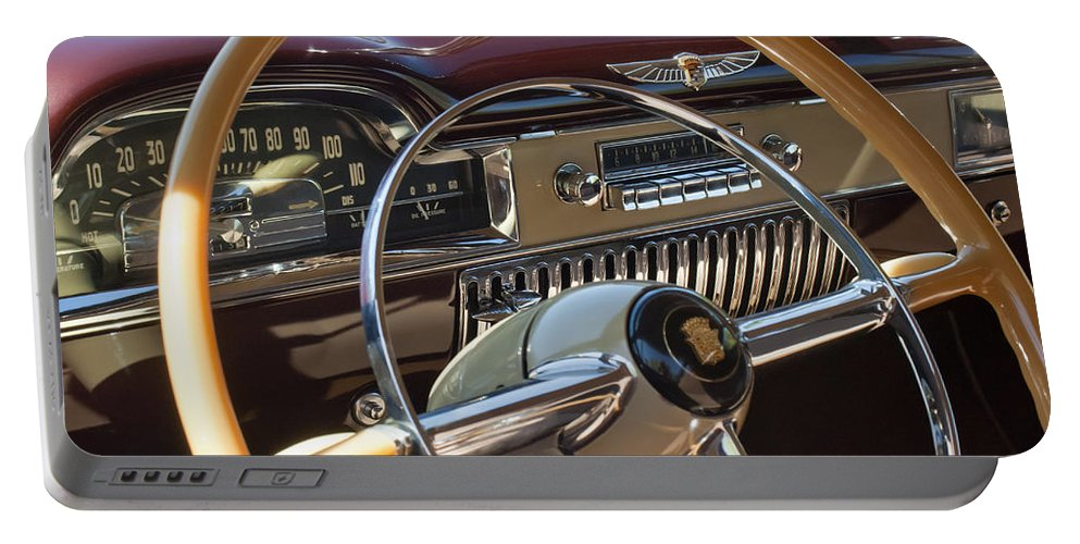 1949 Cadillac Sedanette Portable Battery Charger featuring the photograph 1949 Cadillac Sedanette Steering Wheel by Jill Reger