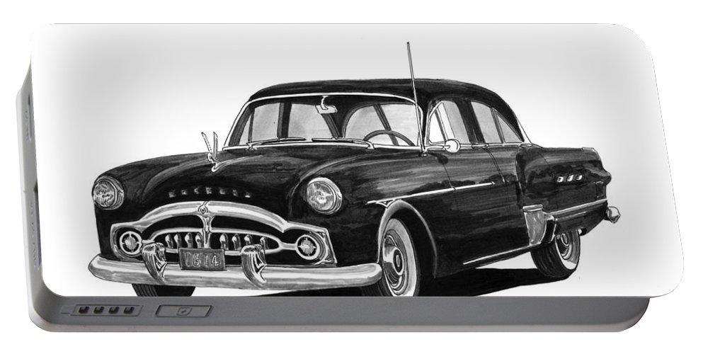 Framed Prints Of Pen And Ink Wash Paintings Of Cars From The 30s Portable Battery Charger featuring the painting 1951 Packard Patrician 400 by Jack Pumphrey