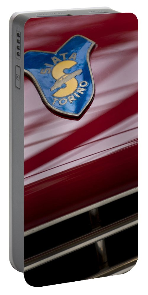 1953 Siata 208s Spyder Portable Battery Charger featuring the photograph 1953 Siata 208s Spyder Emblem by Jill Reger