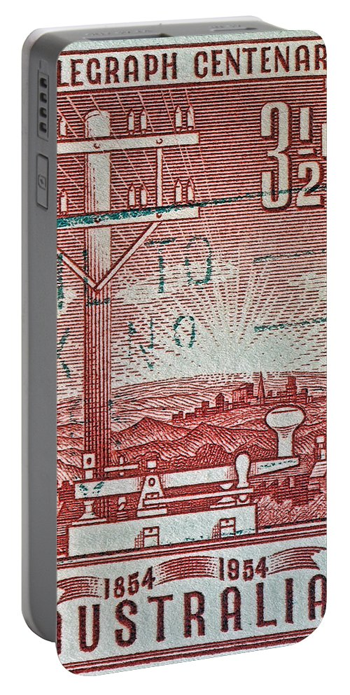 1954 Portable Battery Charger featuring the photograph 1954 Centenary Of Australian Telegraph Stamp by Bill Owen