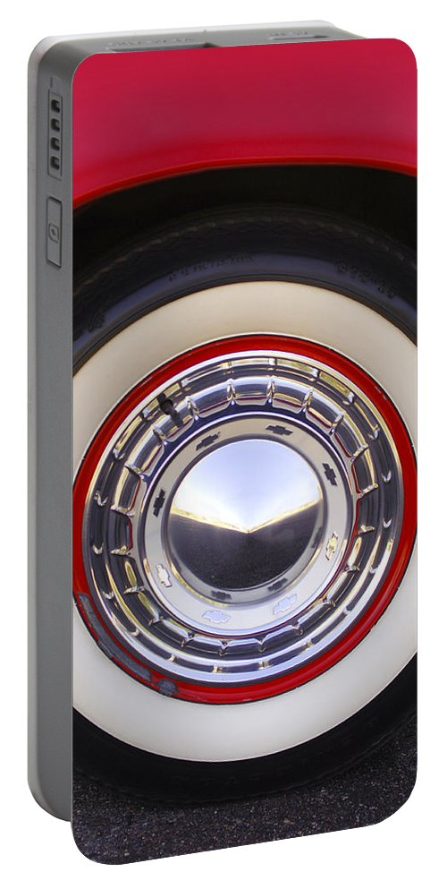 1955 Chevrolet Nomad Portable Battery Charger featuring the photograph 1955 Chevrolet Nomad Wheel by Jill Reger