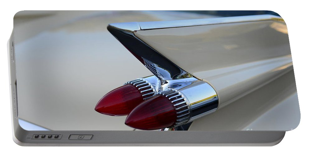 1958 Cadillac Tail Lights Portable Battery Charger featuring the photograph 1958 Cadillac Tail Lights by Paul Ward
