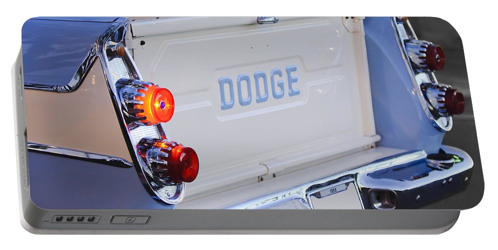 1958 Dodge Sweptside Pickup Portable Battery Charger featuring the photograph 1958 Dodge Sweptside Pickup Taillight by Jill Reger