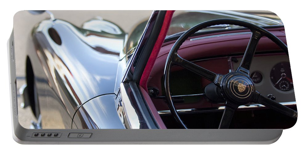 1959 Jaguar S Roadster Portable Battery Charger featuring the photograph 1959 Jaguar S Roadster Steering Wheel 2 by Jill Reger