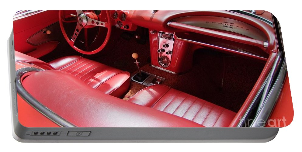 Corvette Portable Battery Charger featuring the photograph 1960 Chevrolet Corvette Interior by Mary Deal