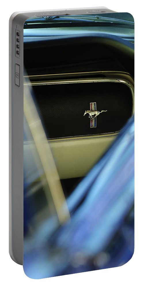 1964 Ford Mustang Portable Battery Charger featuring the photograph 1964 Ford Mustang Emblem by Jill Reger