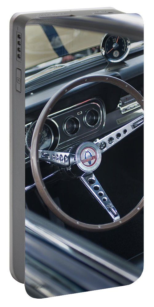 1966 Ford Mustang Cobra Portable Battery Charger featuring the photograph 1966 Ford Mustang Cobra Steering Wheel by Jill Reger