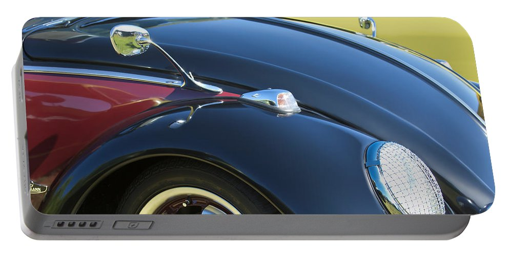 1966 Volkswagen Vw Convertible Bug Portable Battery Charger featuring the photograph 1966 Volkswagen Vw Convertible Bug by Jill Reger