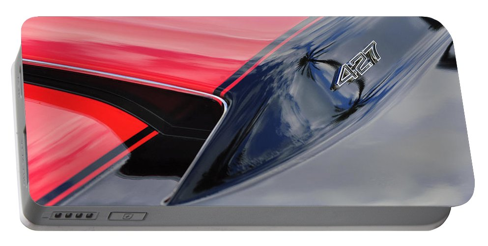 1967 Chevrolet Corvette Portable Battery Charger featuring the photograph 1967 Chevrolet Corvette 427 Hood Emblem 5 by Jill Reger