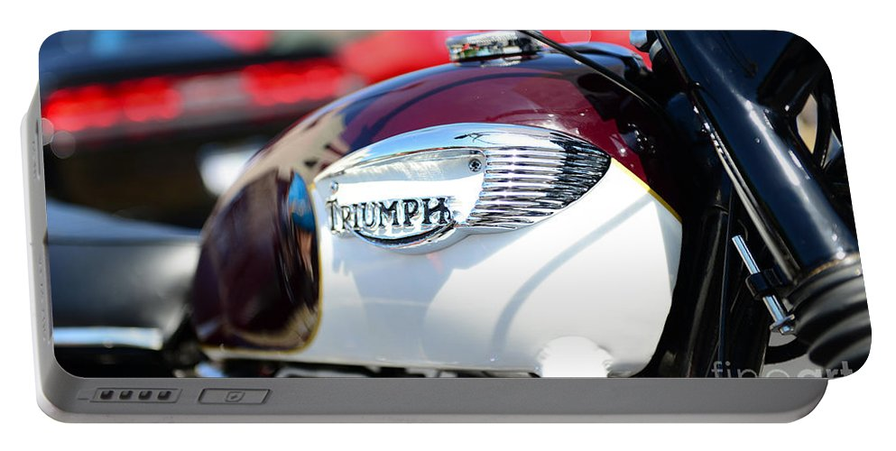 1967 Triumph Bonneville Motorcycle Portable Battery Charger featuring the photograph 1967 Triumph Gas Tank 3 by Paul Ward