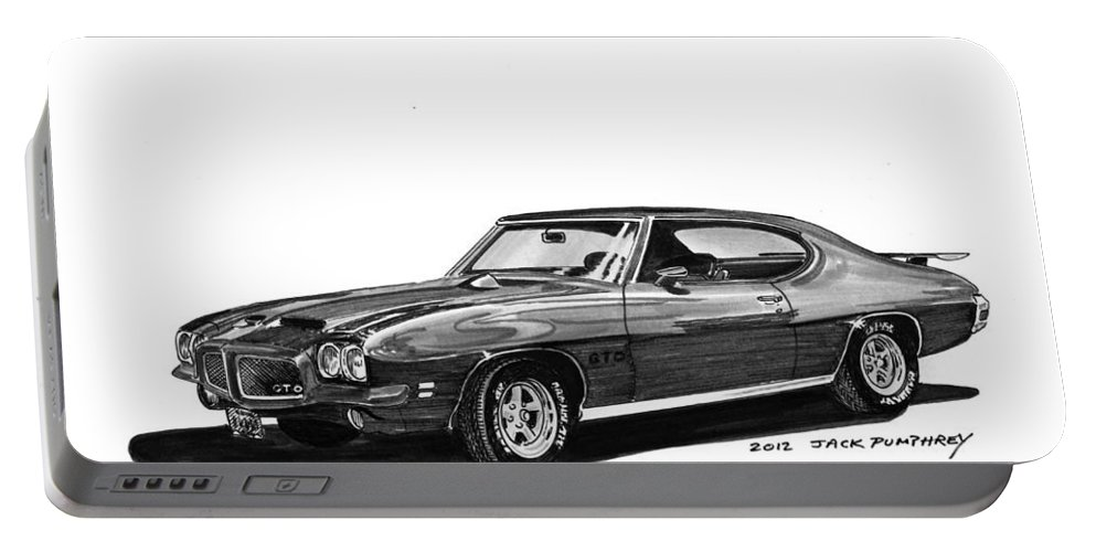 Framed Prints Of Pen And Ink Wash Paintings Of Cars From The 30s Portable Battery Charger featuring the painting 1971 Pontiac G T O by Jack Pumphrey