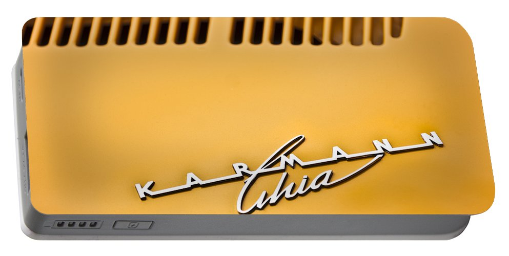 1973 Volkswagen Karmann Ghia Convertible Portable Battery Charger featuring the photograph 1973 Volkswagen Karmann Ghia Convertible Emblem by Jill Reger