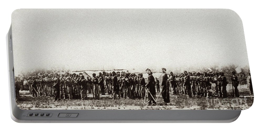 1862 Portable Battery Charger featuring the photograph 1st U.s. Colored Infantry by Granger