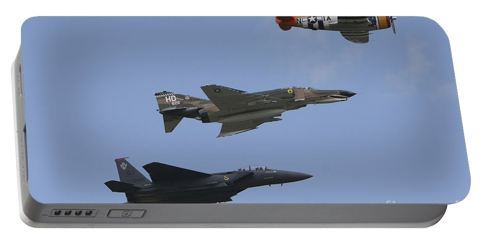 Horizontal Portable Battery Charger featuring the photograph An F-15 Eagle, P-47 Thunderbolt by Terry Moore