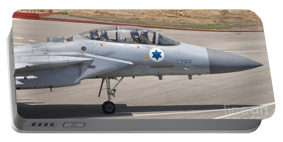 Israel Portable Battery Charger featuring the photograph An F-15d Eagle Baz Aircraft by Giovanni Colla