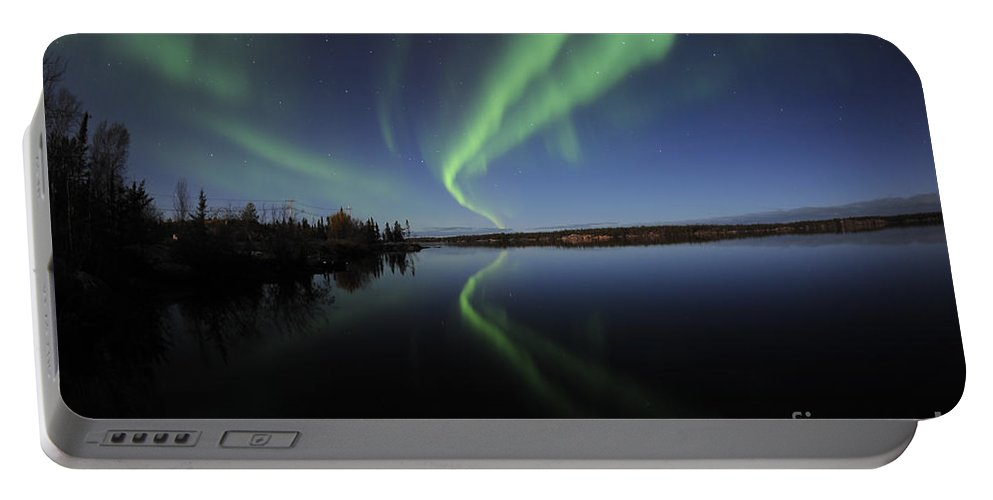 Yellowknife Portable Battery Charger featuring the photograph Aurora Borealis Over Long Lake by Jiri Hermann