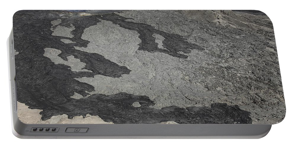 Hornito Portable Battery Charger featuring the photograph Basaltic Lava Flow From Pit Crater by Richard Roscoe