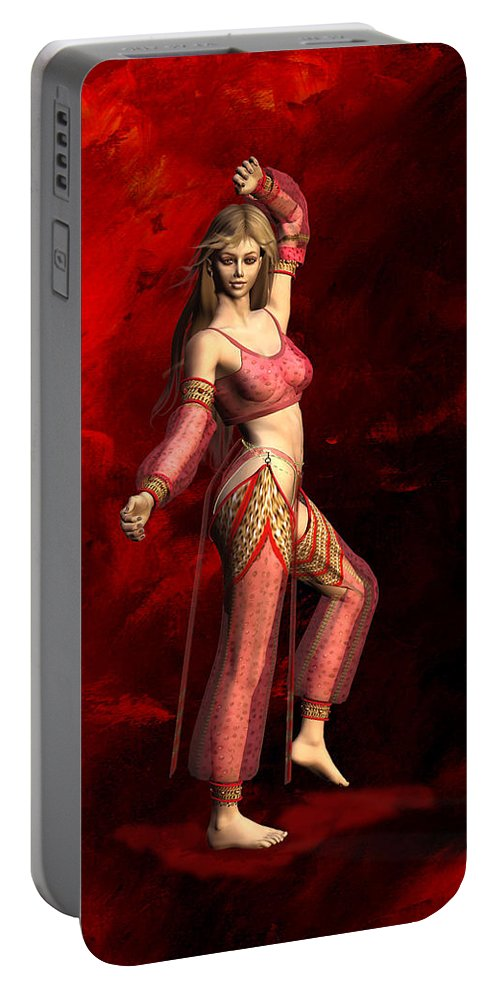 Belly Dancer Portable Battery Charger featuring the digital art Belly Dancer by John Junek