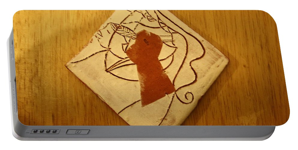Jesus Portable Battery Charger featuring the ceramic art Centres - Tile by Gloria Ssali
