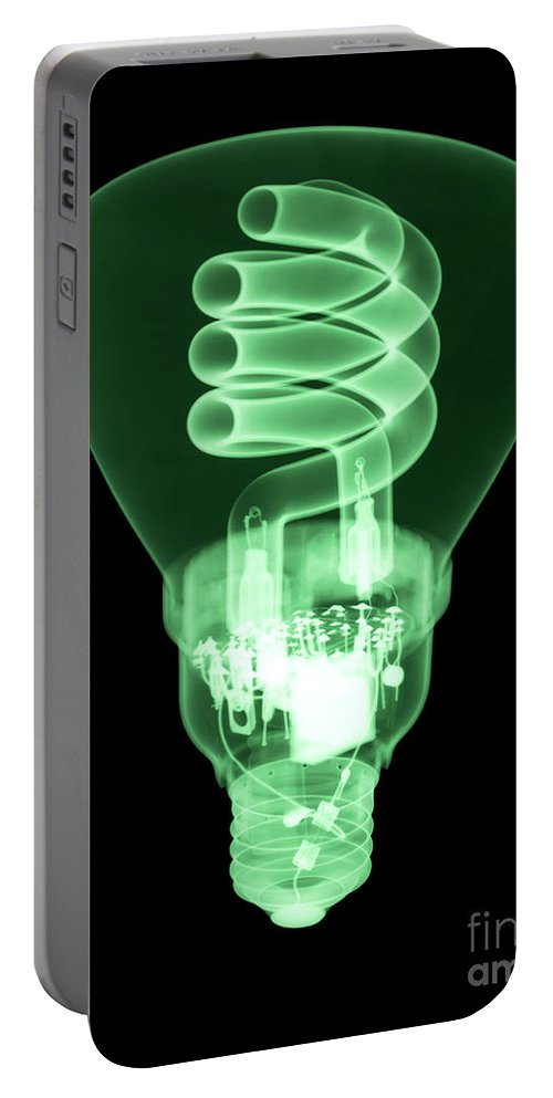 Xray Portable Battery Charger featuring the photograph Energy Efficient Light Bulb by Ted Kinsman