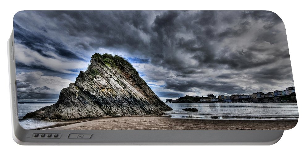 Goscar Rock Tenby Portable Battery Charger featuring the photograph Goscar Rock Tenby by Steve Purnell