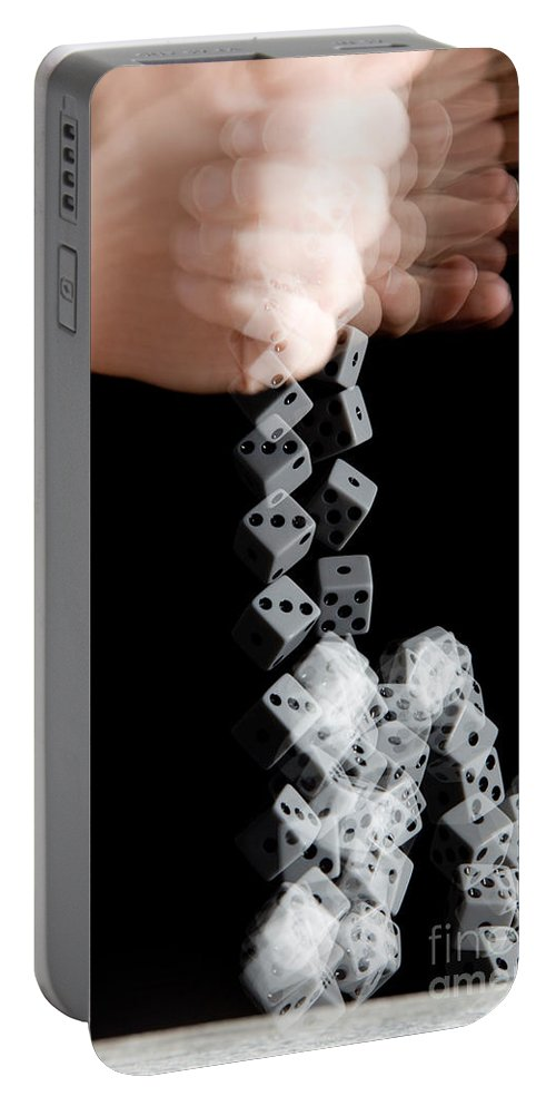 Hand Portable Battery Charger featuring the photograph Hand Rolling Dice by Ted Kinsman