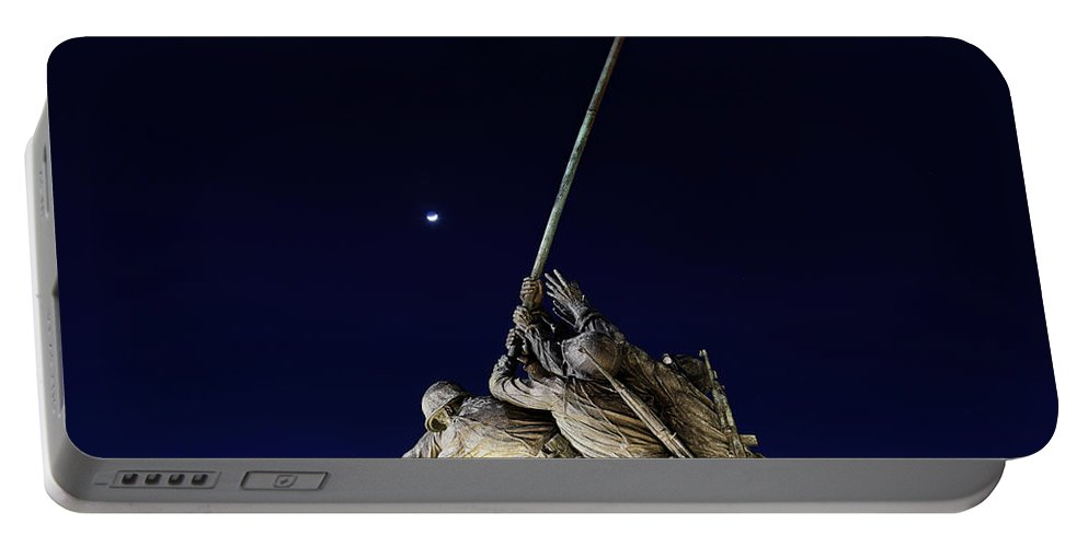 Iwo Portable Battery Charger featuring the photograph Iwo Jima Memorial At Dusk by Metro DC Photography