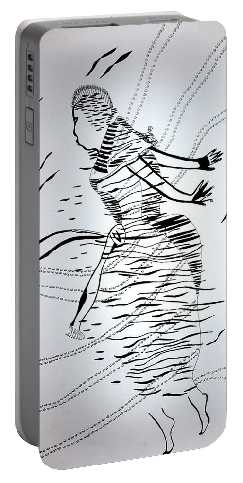 Jesus Portable Battery Charger featuring the drawing Kiganda Dance - Uganda by Gloria Ssali
