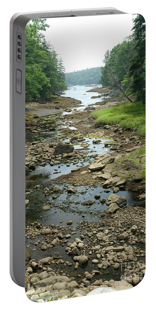 Tide Portable Battery Charger featuring the photograph Low Tide In Maine Part Of A Series by Ted Kinsman
