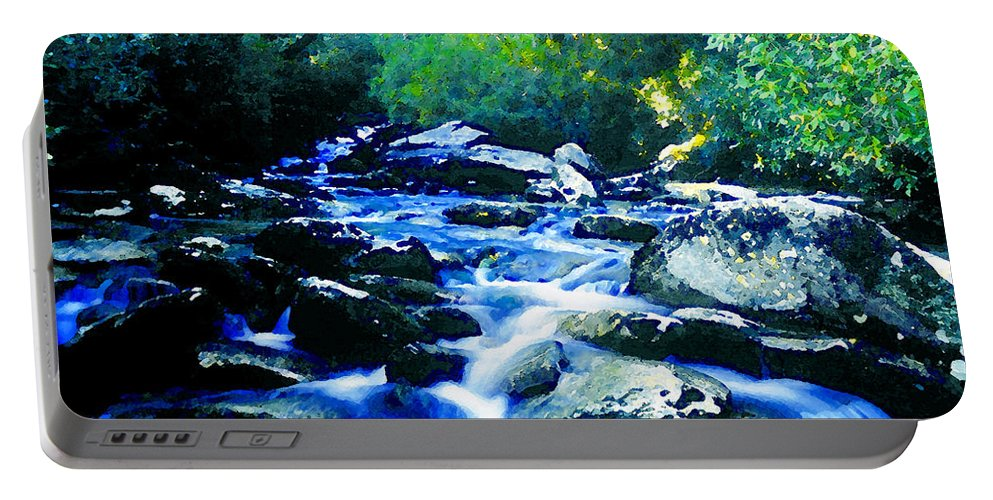 Art Portable Battery Charger featuring the painting Mountain Stream by David Lee Thompson