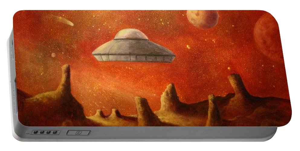 Ufos Portable Battery Charger featuring the painting Mysterious Planet by Randy Burns